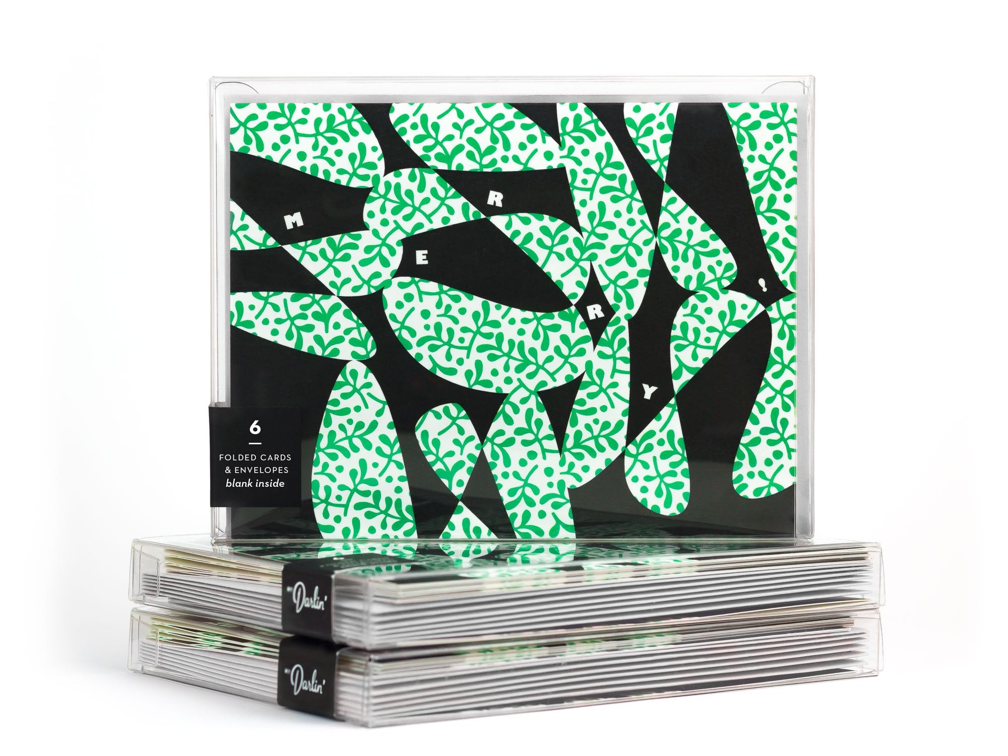 Merry abstract mistletoe pattern Christmas card boxed set. Designed by @mydarlin_bk