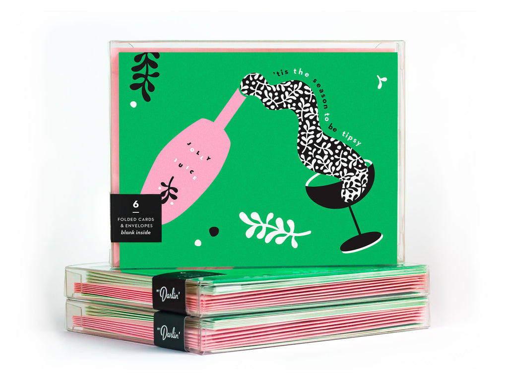 'Tis the Season to Be Tipsy Holiday Card Boxed Set, collaboration between Etsy and Match.com. Designed by @mydarlin_bk