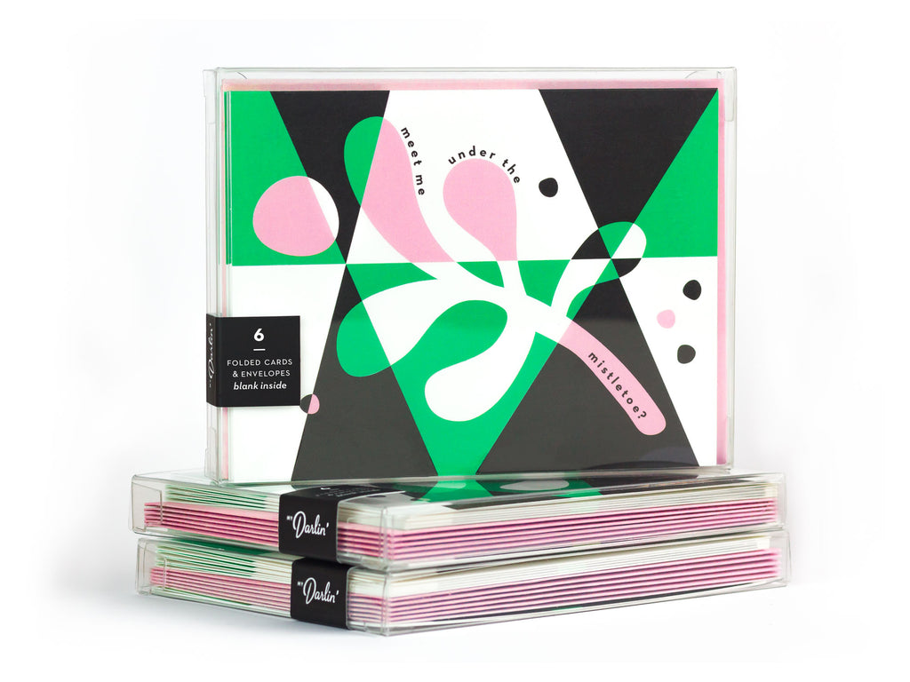 Meet Me Under The Mistletoe abstract mistletoe Christmas card boxed set. Designed by @mydarlin_bk
