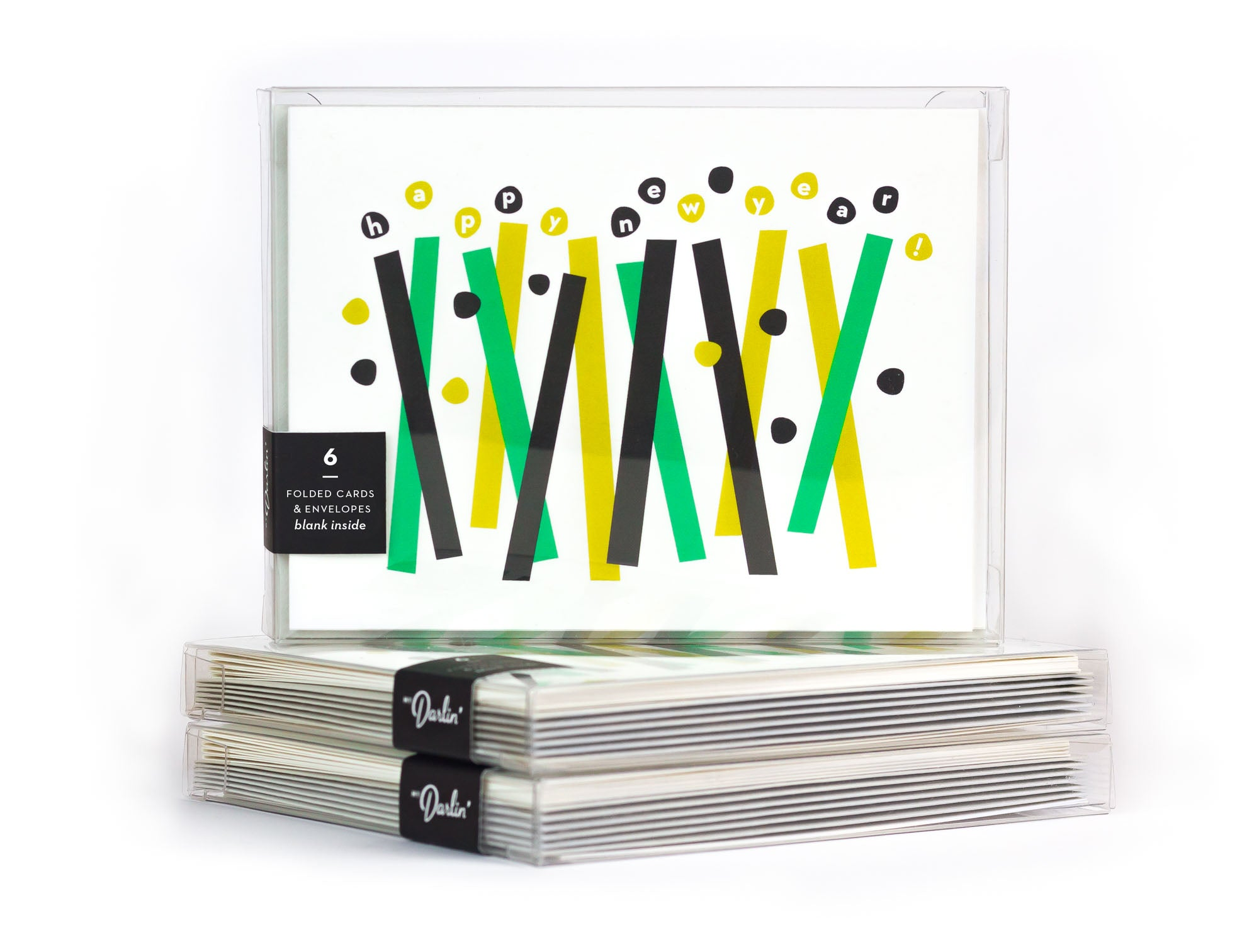 Happy New Year abstract confetti new year greeting card boxed set. Made in USA by My Darlin' @mydarlin_bk