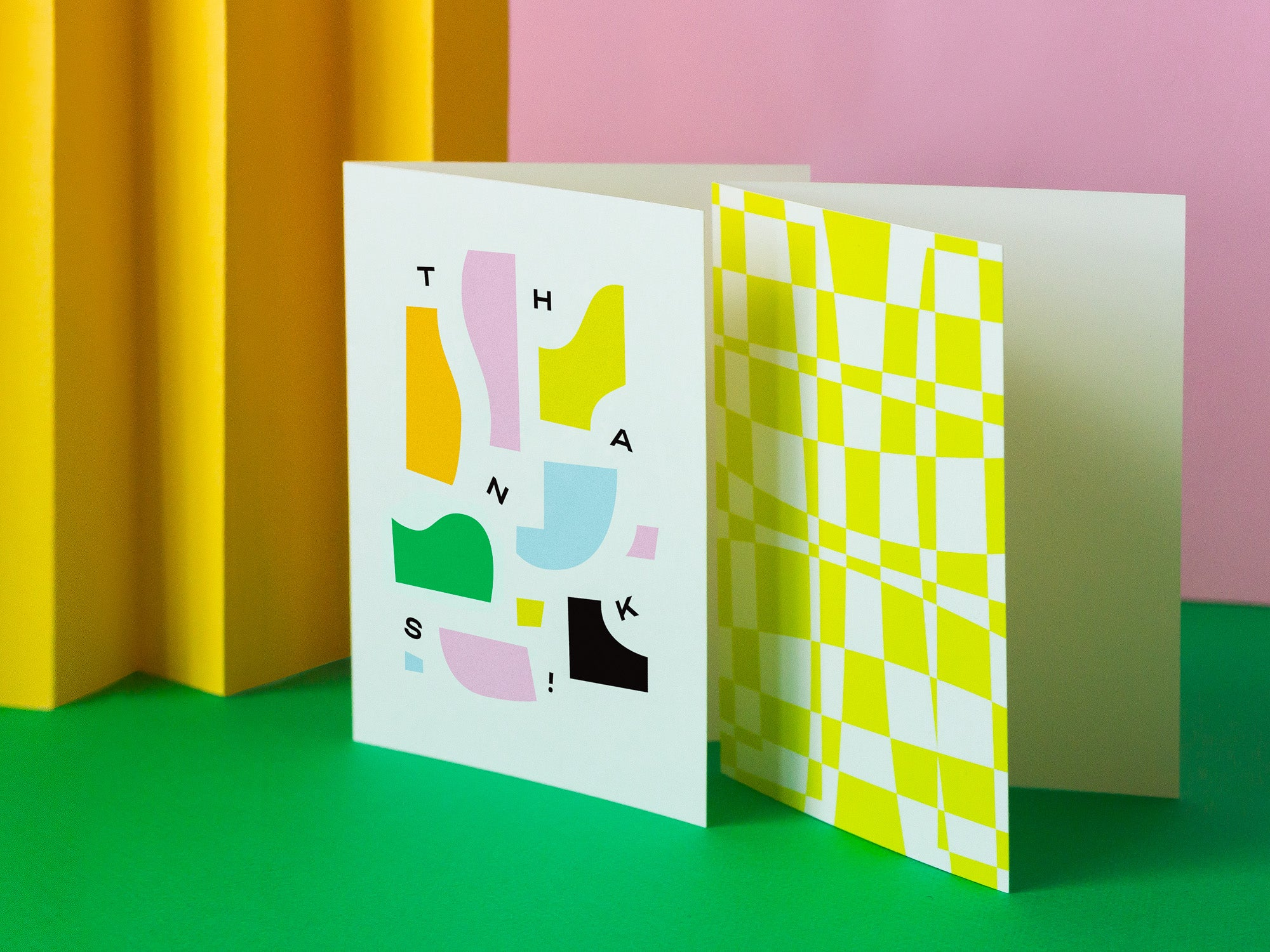 Abstract pieces thanks card and yellow mod / op art space time check pattern. Made in USA by My Darlin' @mydarlin_bk