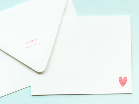 Je T'aime Notevelope & Heart Notecard