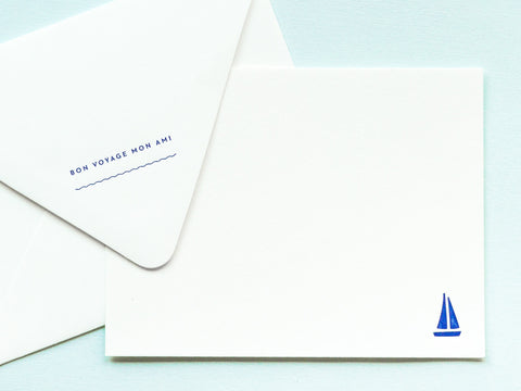 Bon Voyage Mon Ami Notevelope & Sailboat Notecard