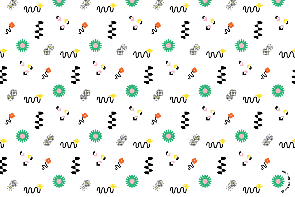 """Les Fleurs"" squiggle-infused floral pattern free downloadable device wallpaper by @mydarlin_bk"