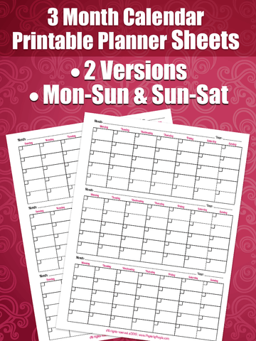 3 Month Calendar - Printable Planner Page