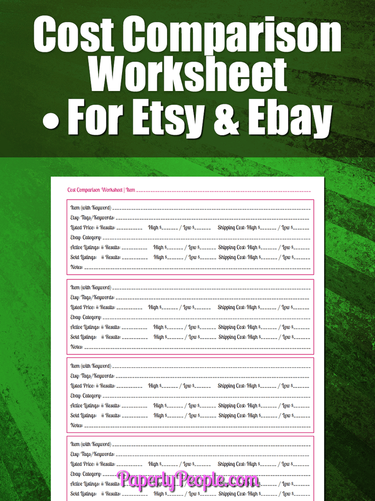 Cost Comparison Worksheet For Etsy and Ebay Pricing