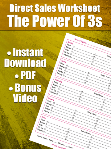 Direct Sales Worksheet - The Power Of 3s