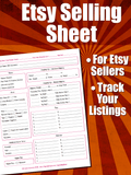 Etsy Products Listing Sheet