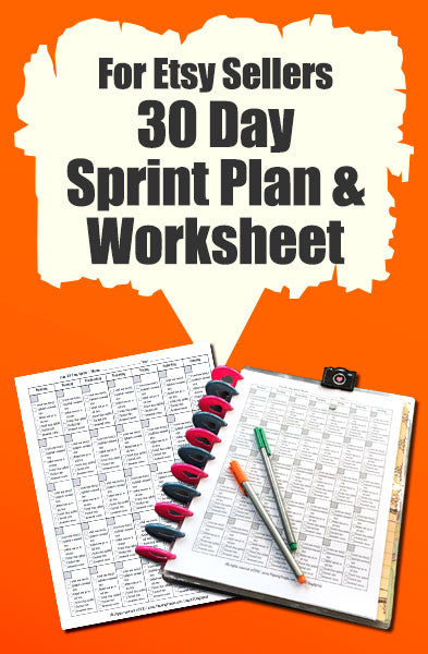 Etsy Marketing - 30 Day Sprint Plan and Worksheet