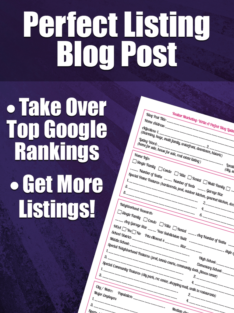 Real Estate Marketing - Perfect Listing Blog Post Worksheet