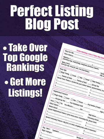 Realtor Marketing - Perfect Listing Blog Post Worksheet