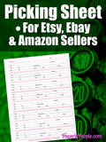 Picking Sheet For Etsy and Ebay Sellers