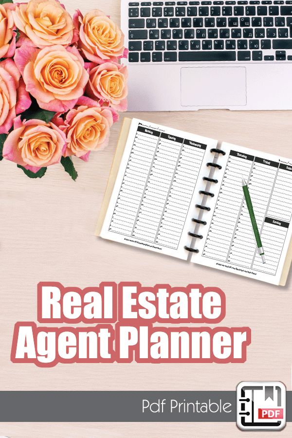 real estate planner agenda calendar goal setting lead tracking
