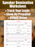 Speaker Domination Worksheet | Speaker Marketing Resource