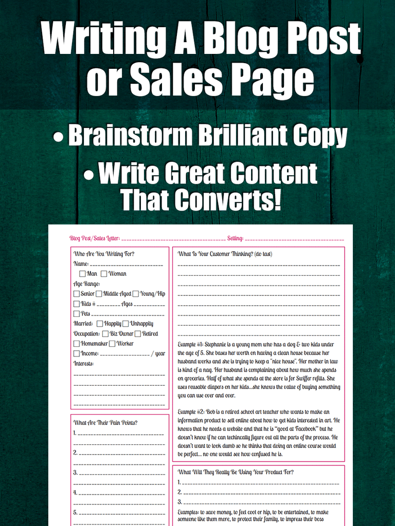Writing A Blog Post or Sales Page Worksheet