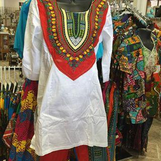 Women's Authentic African Print Combination Pant Set White/Red *MIA* - My African Goods & Exotic Scents