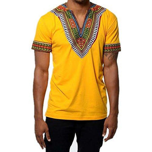Men's African Print Dashiki T-Shirt Tops Yellow
