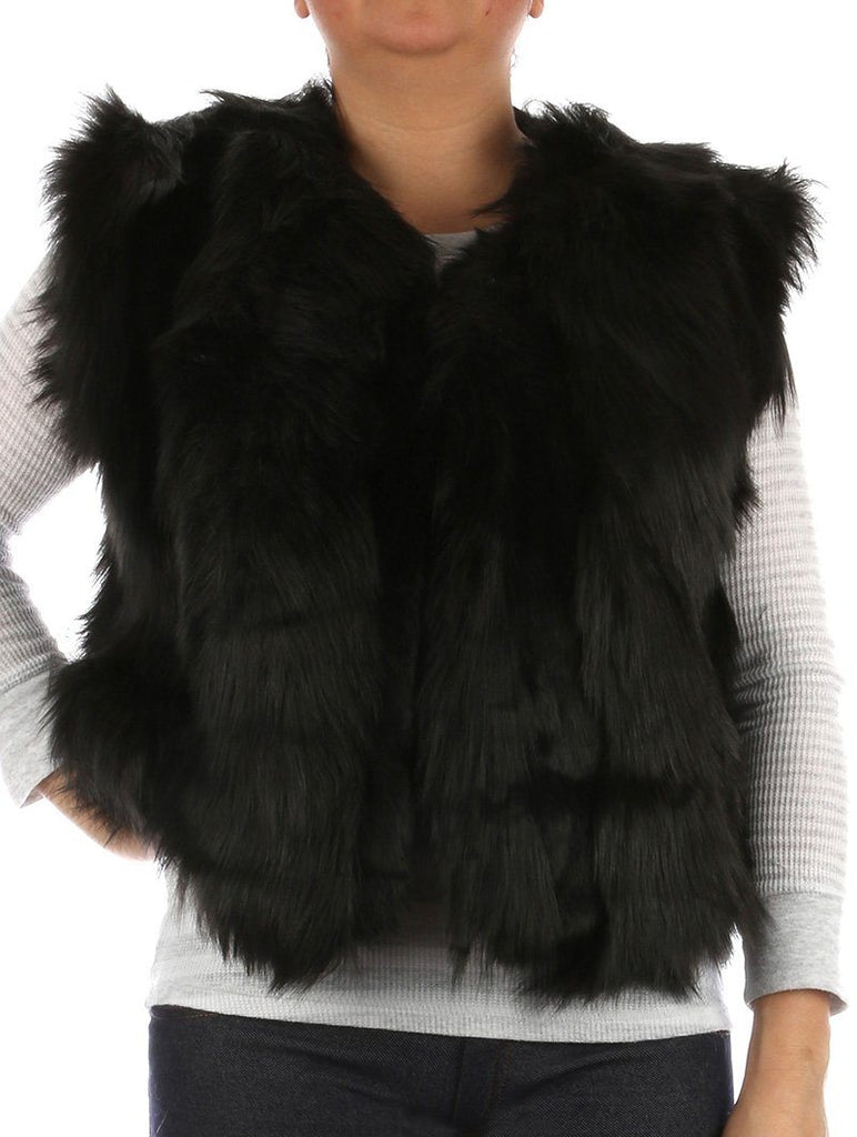 RUSSIAN STYLE RIBBED SOFT FUR VEST BLACK