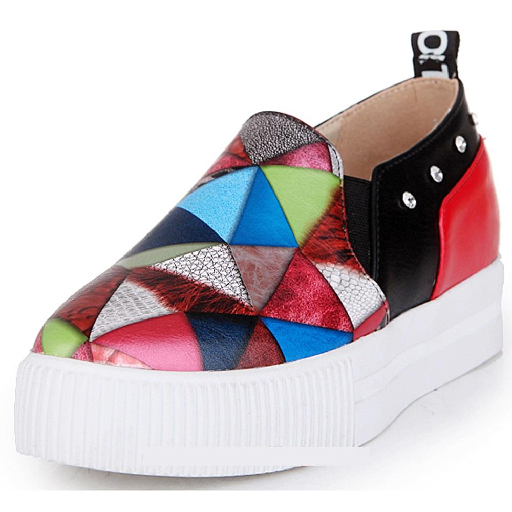 Red Multicolor Patchwork Fashion Sport Walking Shoes