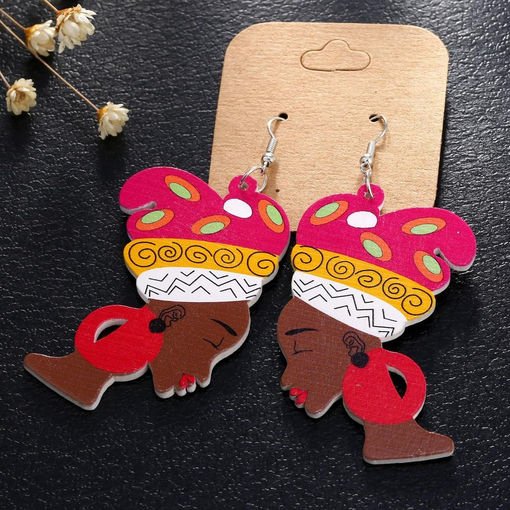 Colorful Africa Wooden Earrings