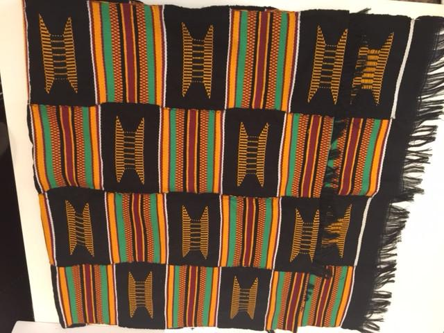 Black and Gold Multicolor Kente Cloth Scarf