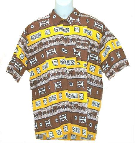 Men's Brown/Yellow Button Down Dashiki - My African Goods & Exotic Scents