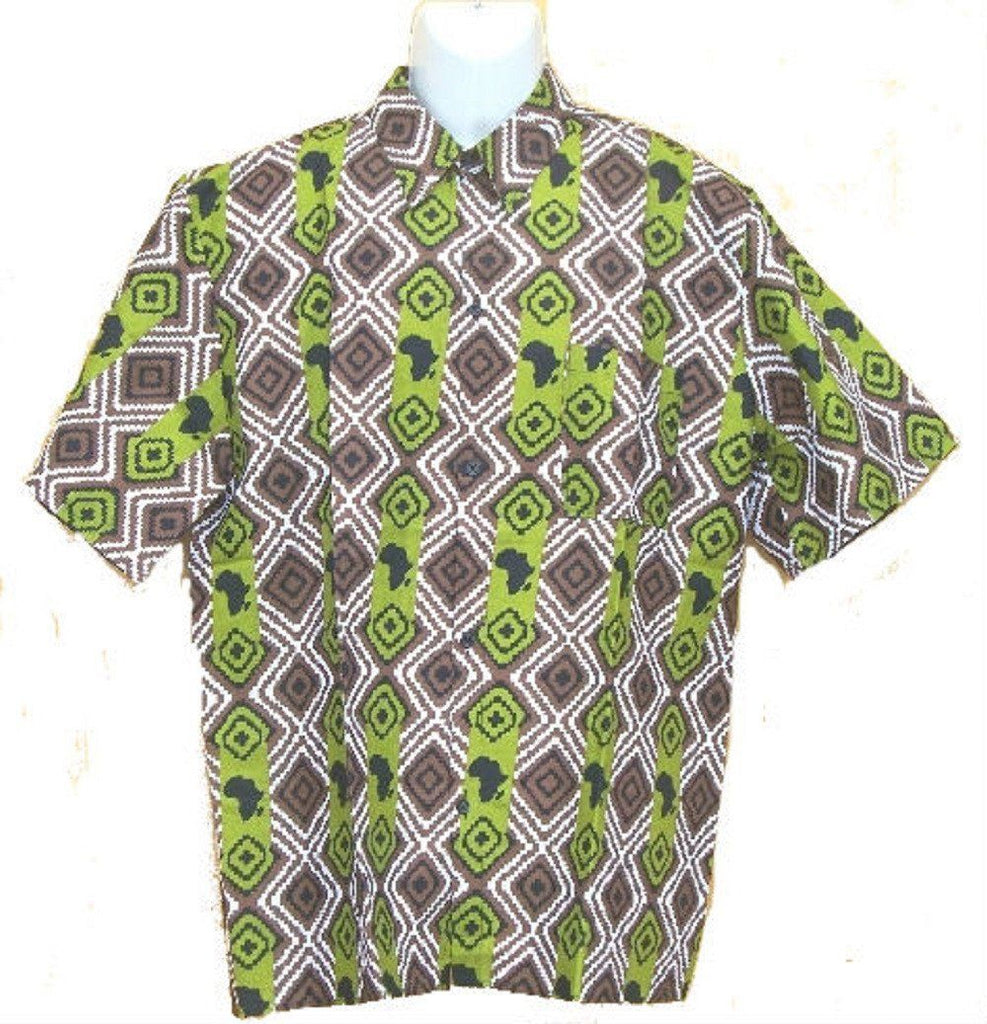 Men's Brown/Lime Button Down Dashiki - My African Goods & Exotic Scents