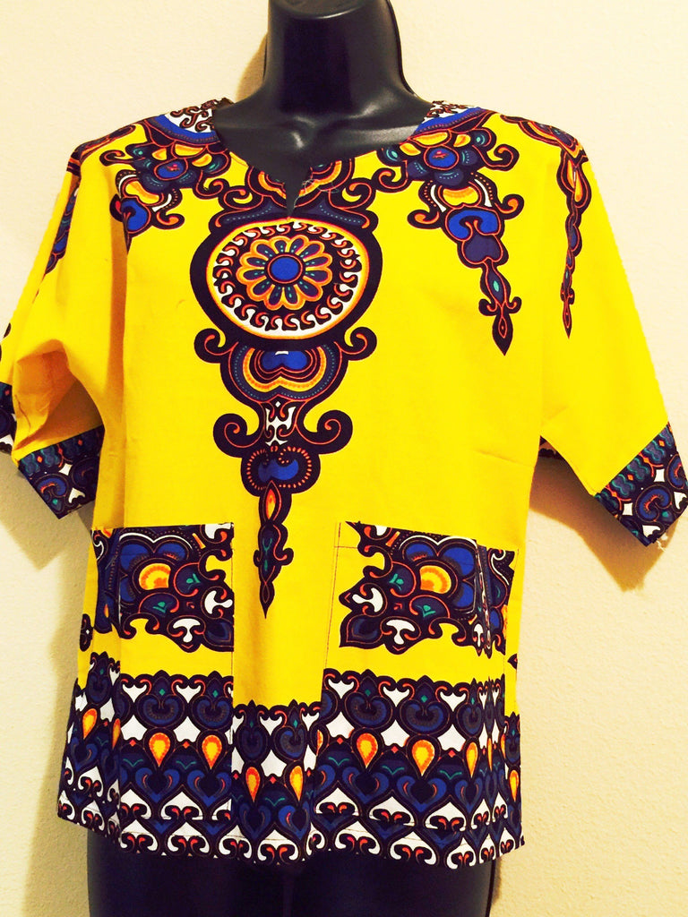 Child's African Print Yellow Dashiki Shirt