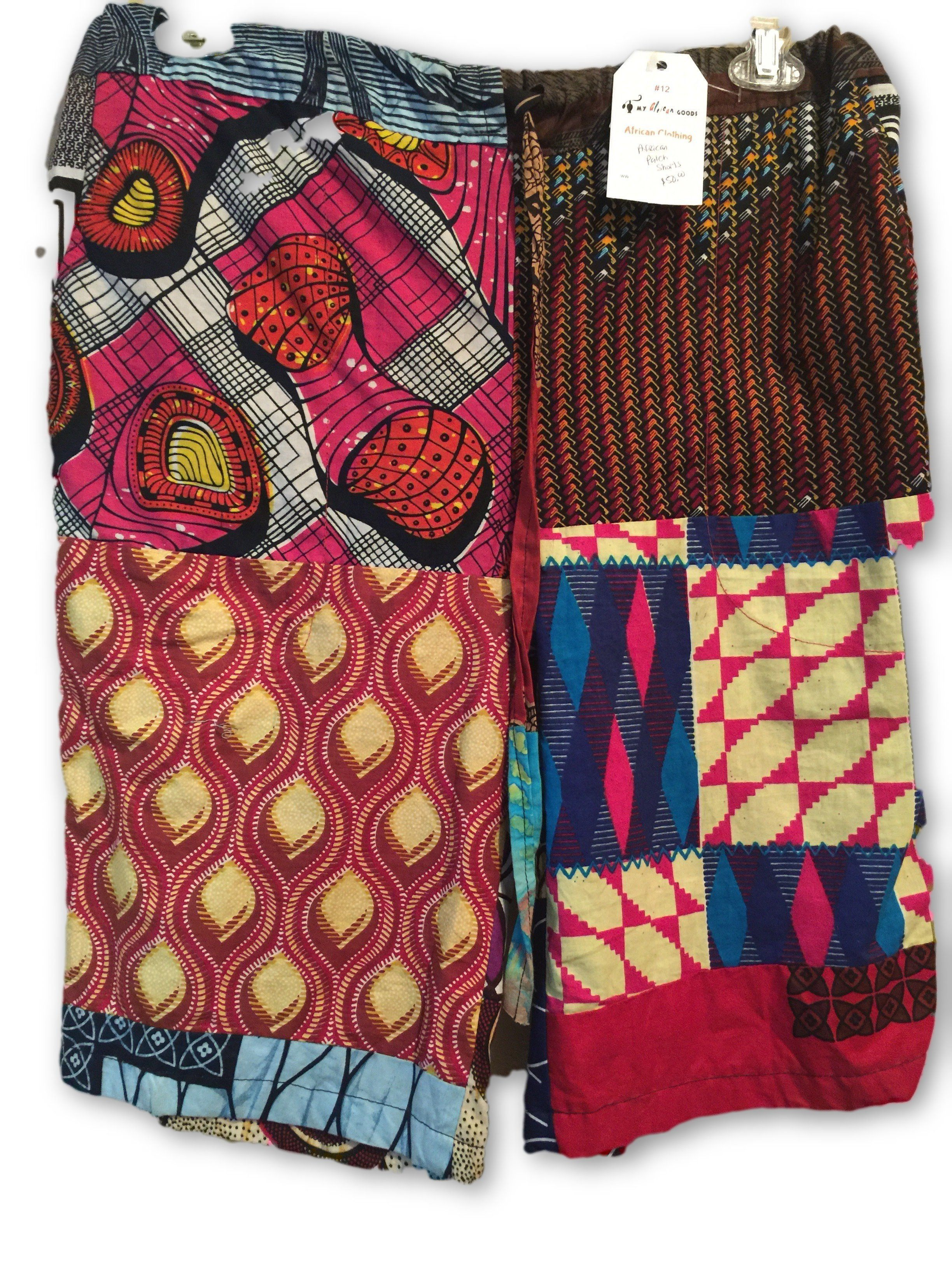 African Patchwork Unisex Knee Length Shorts  (One of a kind)