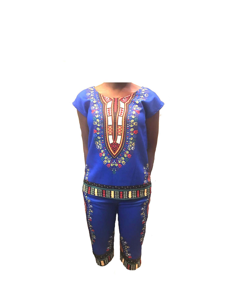 Traditional Print Blue Dashiki Capri Set