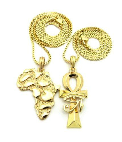 Africa & Ankh Cross Necklace Set - My African Goods & Exotic Scents
