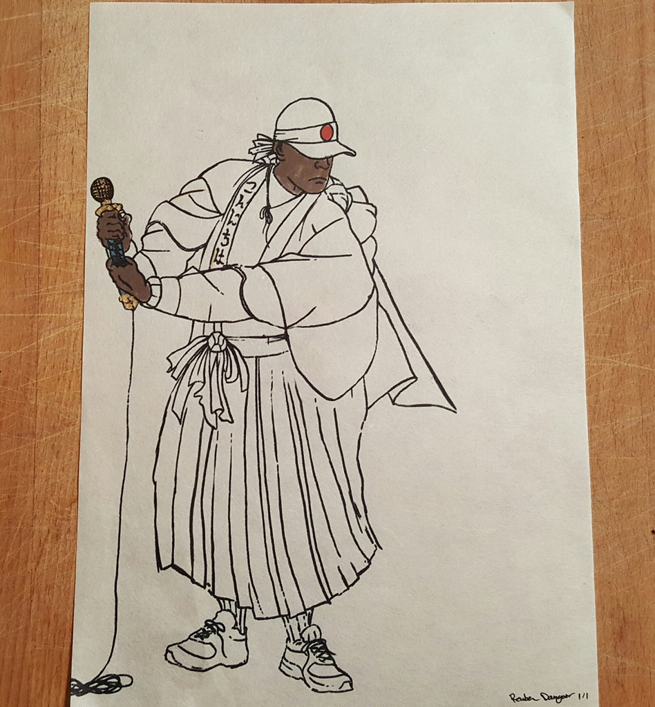 Microphone Samurai sketch hand finished 18K Gold Leafing detail