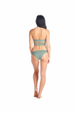 Olive colored swimsuit compliments any tan you will be getting this summer