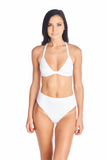 White highwaisted Hokona swimwear bottoms in white paired with Sora top