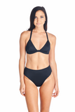 Hokona Mid rise swimsuit bottoms in black. Model in picture wearing Sora bikini top