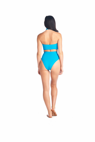 Ocean blue Toro halter bikini top with high neckband. Comes in a variety of different colors