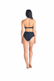 Aikido Swimwear's Aya halter tuxedo top back view worn with our high waisted Souma bottoms
