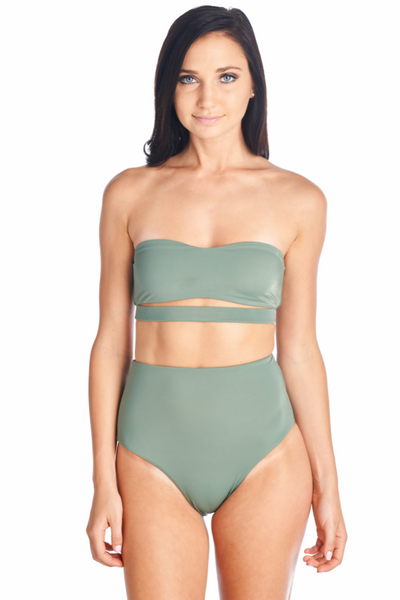 Olive color strapless Hana bikini top with Olive Souma high waisted bottom