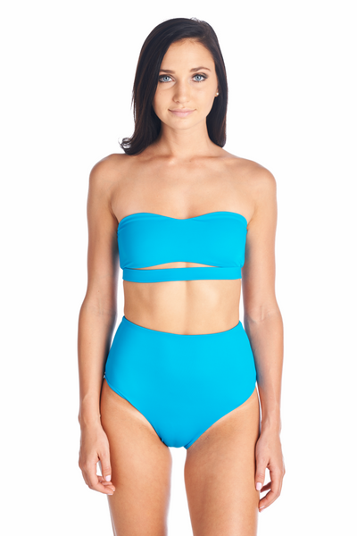 Hana bandeau bikini top in Ocean. Can be paired with Aikido Swimwear's Souma bottoms