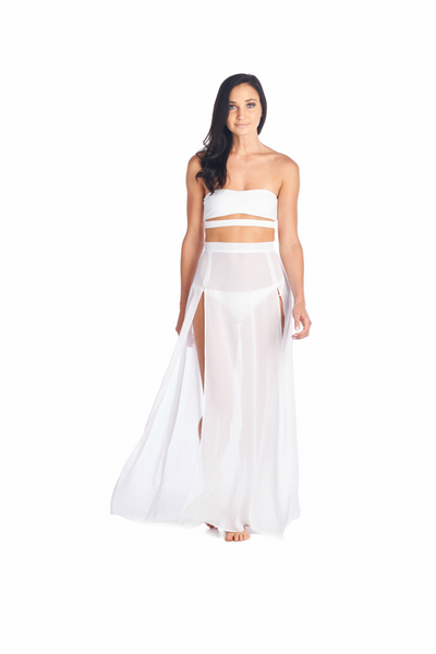 The flowy Akemi Skirt cover up. Great during the summer can be worn with Aikido Swimwear Hana bikini