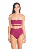 Front view Hana bikini top in Merlot and a variety of different colors. Swimwear top can be worn with Souma highwaisted bottom