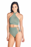 High neckband Toro bikini halter top in Olive. Pair it with Aikido Swimwear Hikari laced up eyelet high waisted bottom