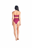Aikido Swimwear Halter top Toro in Merlot paired with highwaisted Souma bikini bottom