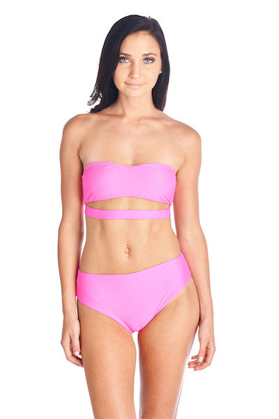 Hot pink Hana strapless bikini top with matching Aikido Swimwear bottoms