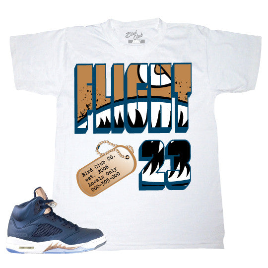 Air Jordan 5 Obsidian/Bronze release info and Sneaker Tee to match by Bird Club