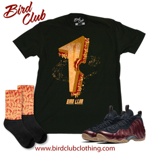 Maroon Foams t-shirt, socks and Release info.