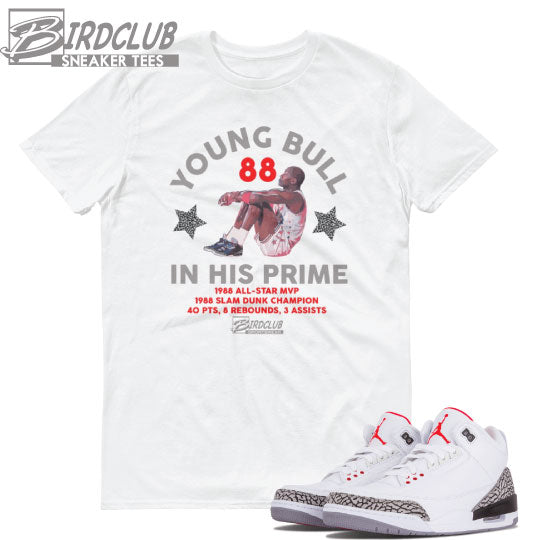 BIRD CLUB SNEAKER TEES | Air Jordan Retro 3 White cement release and sneaker tee info