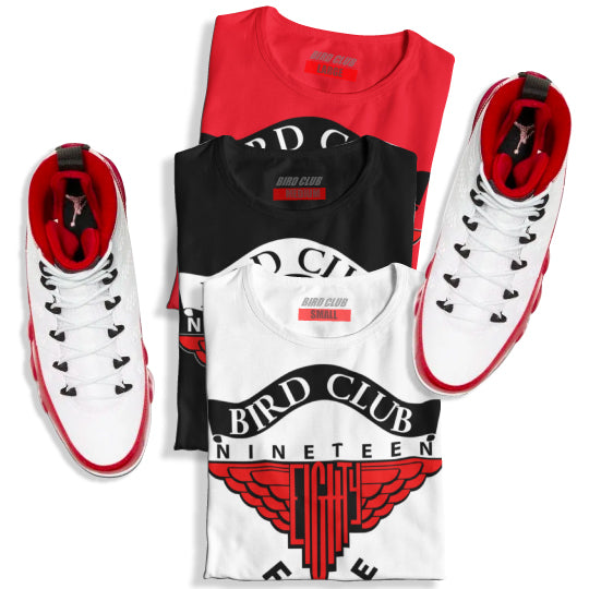 "Dope selection of Retro 9 ""Gym Red"" Sneaker Tees to match"