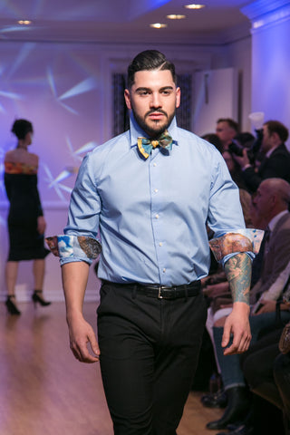 "Blue Man's Shirt ""Real Wall Street "" - $300; Bow Tie ""Classic Obsession"" $150.00"