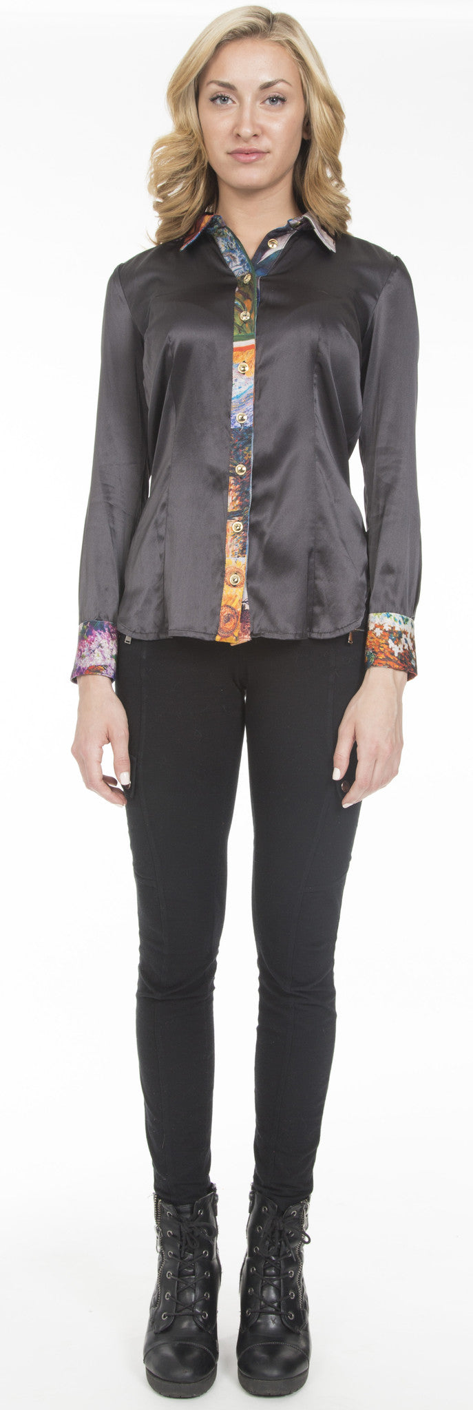 Paneled Silk Dress Shirt